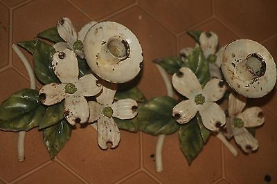 TOLE ITALY big LUSH WIDE DOGWOOD FLOWER Candle Holder Shabby Cottage 8 Tall