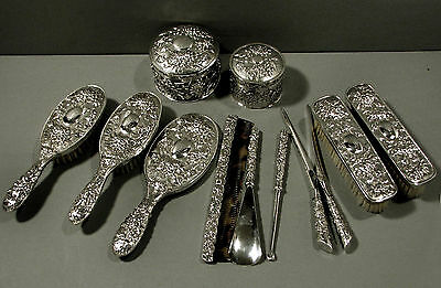Chinese Export Silver Dresser Set      11  PCS                  WING FAT  c1890