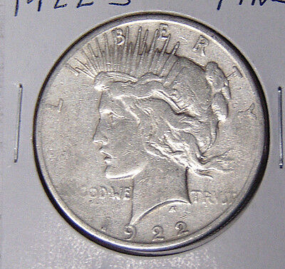 1922-S Peace Silver Dollar Fine San Francisco Mint Coin (xz-21)