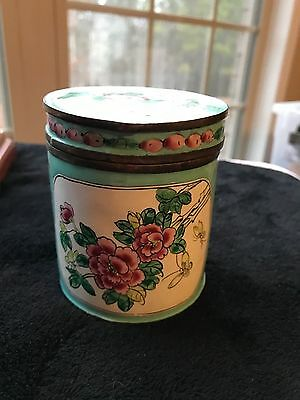 ANTIQUE CHINESE CLOISONNE ENAMEL  FAMILLE ROSE CYLINDER TEA CADDY birds flowers