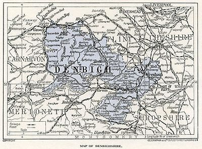 1923 map of Wales: old county of Denbigh, ready-mounted antique print SUPERB