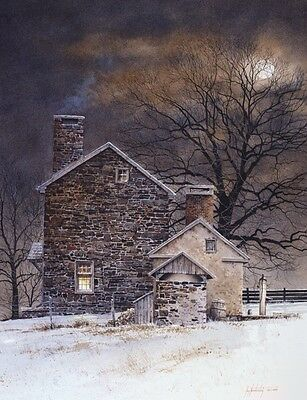 FARM LANDSCAPE ART PRINT - Blue Moon by Ray Hendershot Country Poster 24x30