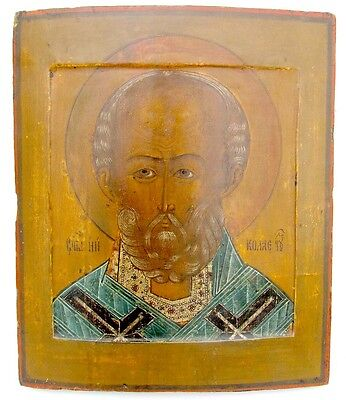 ANTIQUE 18th CENTURY RUSSIAN ICON of ST.NICHOLAS of MYRA