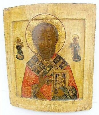 18th CENTURY ANTIQUE RUSSIAN ICON of ST.NICHOLAS