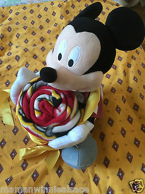 couverture + peluche  disney mickey  76 x 75   cm ultra douce