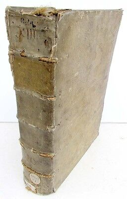 1736 ANTIQUE VELLUM FOLIO of NEW TESTAMENT BIBLE COMMENTARY by A.CALMET w/ MAP