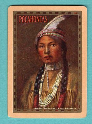 1 Single Swap Playing Card ANTIQUE WIDE #34a GIRL NAMED POCAHONTAS VINTAGE OLD