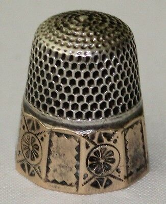 Antique Goldsmith Stern & Co Thimble Silver and Gold Band 10 Panel Flower Size 7