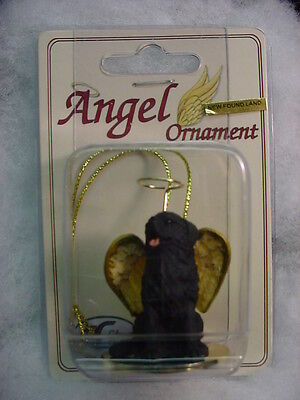 NEWFOUNDLAND black dog ANGEL Figurine Ornament HAND PAINTED COLLECTIBLE puppy