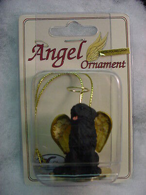 NEWFOUNDLAND black dog ANGEL resin Figurine Ornament HAND PAINTED COLLECTIBLE