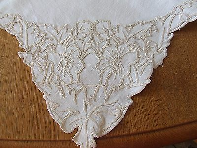 Vintage White Linen Beige Hand Embroidered Table Cloth