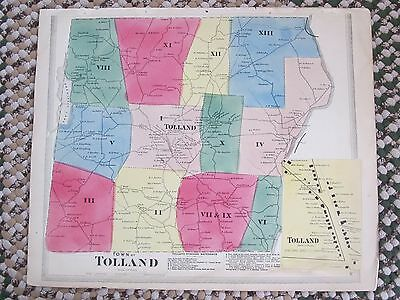 Antique 1869  Tolland, Ct., Hand Colored Map. Clean Map I Good Condition