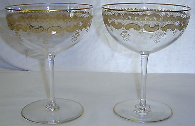 Pair Antique Glass Tazza Compote Bonbon Whipped Cream Stems Etched w/ Gold