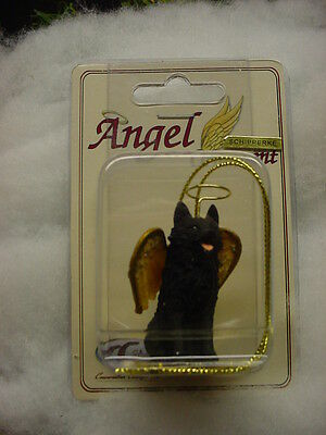 SCHIPPERKE dog ANGEL Ornament resin Figurine HAND PAINTED Christmas puppy