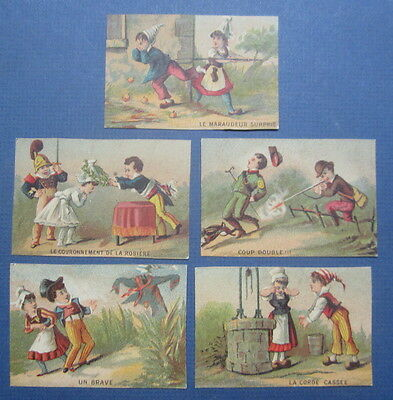 Set of 5 Old 1880's French Victorian TRADE CARDS - Children Couples / Scenes
