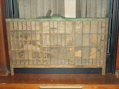 "Vintage Hamilton Printers Tray Wood Shadowbox Curio Display 32""  X 19""  90 Slots"