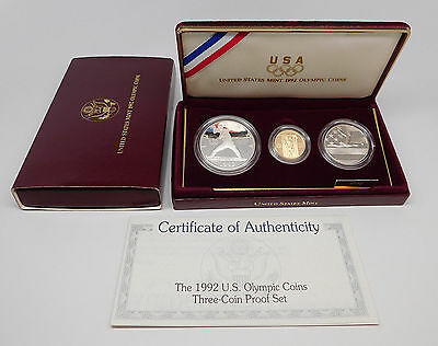 1992 United States (3) Coin Olympic Proof Silver & Gold Commemorative Set