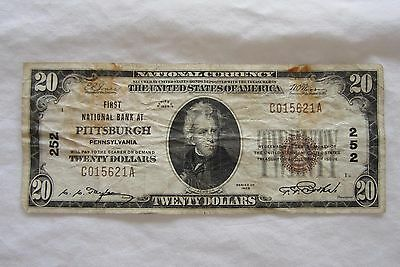 1929 Brown Seal $20 First National Bank of Pittsburgh, PA