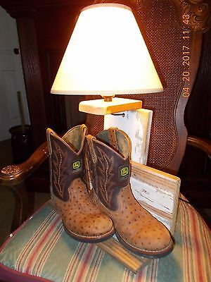 Rare Unique Handcrafted John Deere Boots Table Lamp Light Country Rustic Tractor
