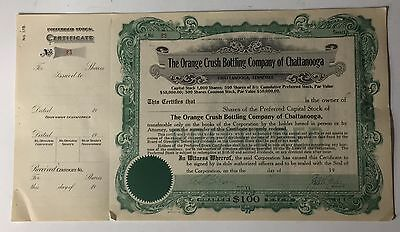 Never Issued Orange Crush Bottling Chattanooga Preferred Stock Certificate