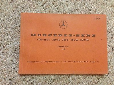 1967 Mercedes Benz 250SE 250 SE Factory Parts Catalog Manual W108 Chassis Body