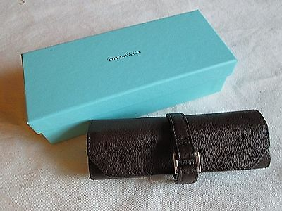 Tiffany & Co. Brown Leather Jewerly Roll Wrap New in Box w Ribbon Made in Spain