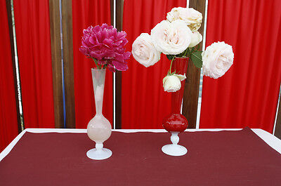 vases soliflore en verre opalin rouge rose opaline  Lot de 2