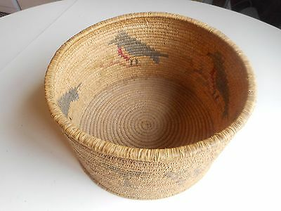 Antique hand woven American Indian or Mexican Basket. Early woven Basket w/Birds