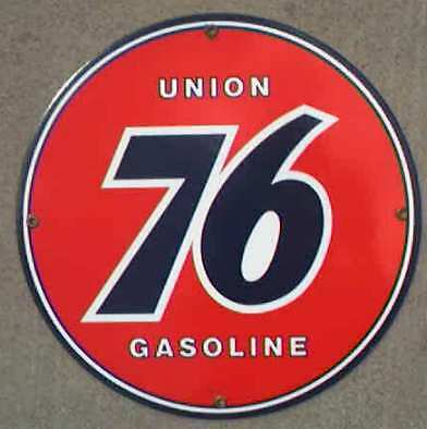 *union 76 Round Porcelain Overlay Metal Sign *nr