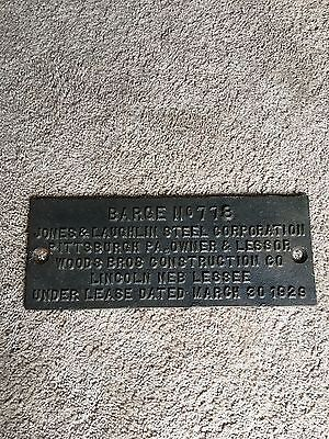 Marine brass builders plate Jones and Laughlin Steel Corp barge, Woods Brothers