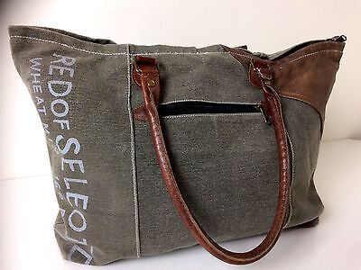 Mona B Recycled Canvas & Leather Tote Shoulder Satchel Bag