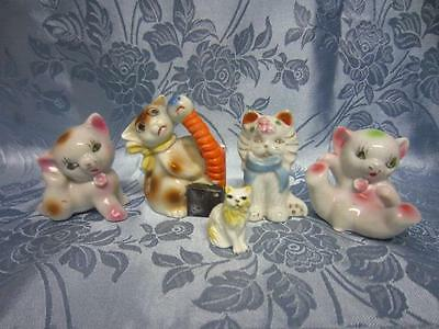 Lot of 5 Various Vintage Small Ceramic Cat Figurines Made in Japan Pre-owned