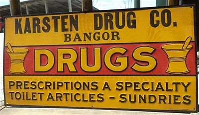 23.25 x 11.75 Karsten Drug Bangor Metal Vintage Advertising Sign Mancave Garage