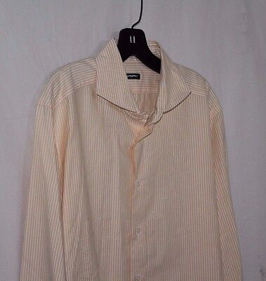 SUITSUPPLY 43 / 17 Yellow & White Striped Cotton Long Sleeve Dress Shirt
