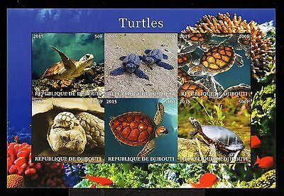 B3-DJIBOUTI-TURTLES MNH** BLOCK.Local private issue.2015.FAUNA-Animals.TORTUGAS