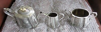 A Silver Plated Walker and Hall Tea Pot, Bowl, and Jug Set (used)