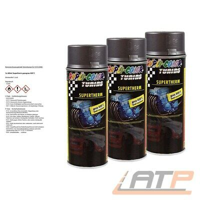 3x 400ml DUPLI COLOR SUPERTHERM GRAU 600°C HITZELACK AUSPUFFLACK SPRAY 471544