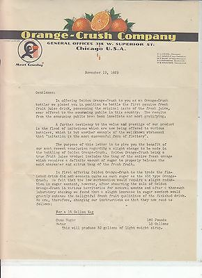 Orange-Crush Company Chicago Letterhead November 19, 1929