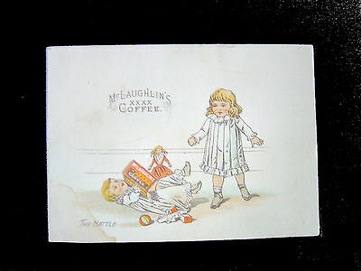 Victorian Trade Card=Toddler falls-wins Battle over McLaughlin's Coffee Package