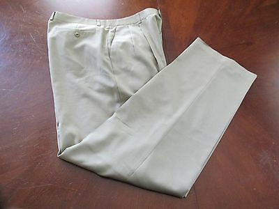 Zanella Neiman Marcus 38x33 Tan Pleated Front Men's Dress Pants Made Italy!