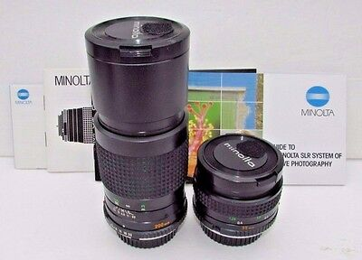 Vintage Minolta Camera Lenses Rokkor-X 200mm 1:4.5 & 35mm 1:2.8 Very Nice