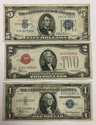 Lot of (3) $5 & $1 Silver Certificate $2 Legal Tender Red Seal Circulated PM-21