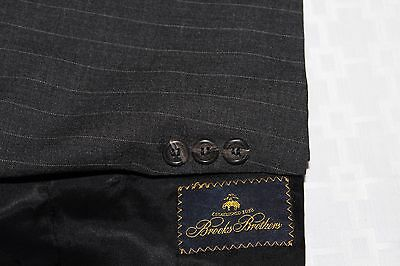 BROOKS BROTHERS Made in USA Charcoal Pinstriped Wool 40S Suit Pants 38 X 27