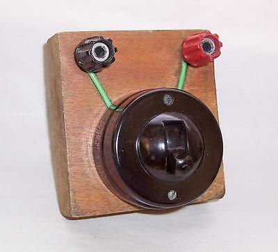 Vintage Round 1950s BAKELITE / CERAMIC LIGHT SWITCH Working