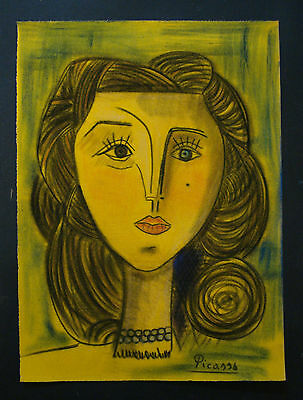 PABLO PICASSO    DRAWING ON ORIGINAL PAPER VELVET OF THE 70s