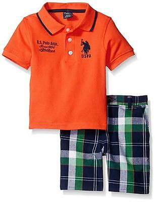 U.S. Polo Assn Toddler/Little Boys S/S Polo 2pc Plaid Short Set 2T 3T 4T 4 5 6 7