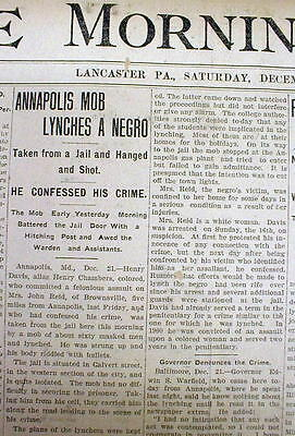 1906 newspaper NEGRO man is LYNCHED in ANNAPOLIS Maryland by a White mob