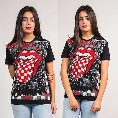 Womens Black The Rolling Stones Diamante T-Shirt Top Checkerboard Rock Band 10