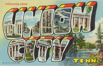 1946 UNION CITY TN Large Letter Greetings from postcard