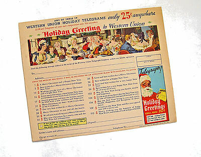 Orig.colorful Original 1937 Western Union 25-Cent Holiday Greeting Message Sheet